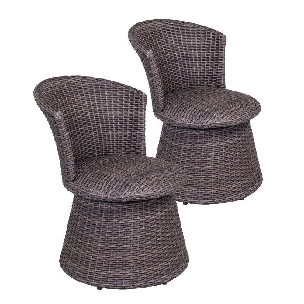 Brown Wicker Swivel Patio Bar Stool Chair Indoor Outdoor Rattan Chair (2-Pack)