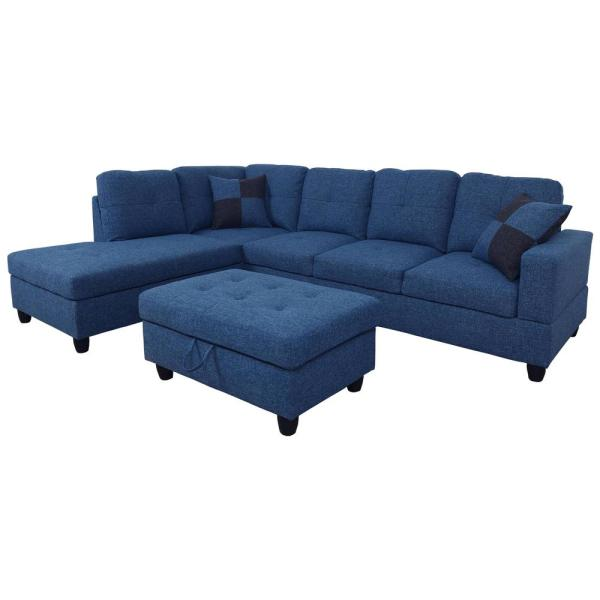 Undefined Blue Microfiber Right Chaise Sectional With Storage Ottoman