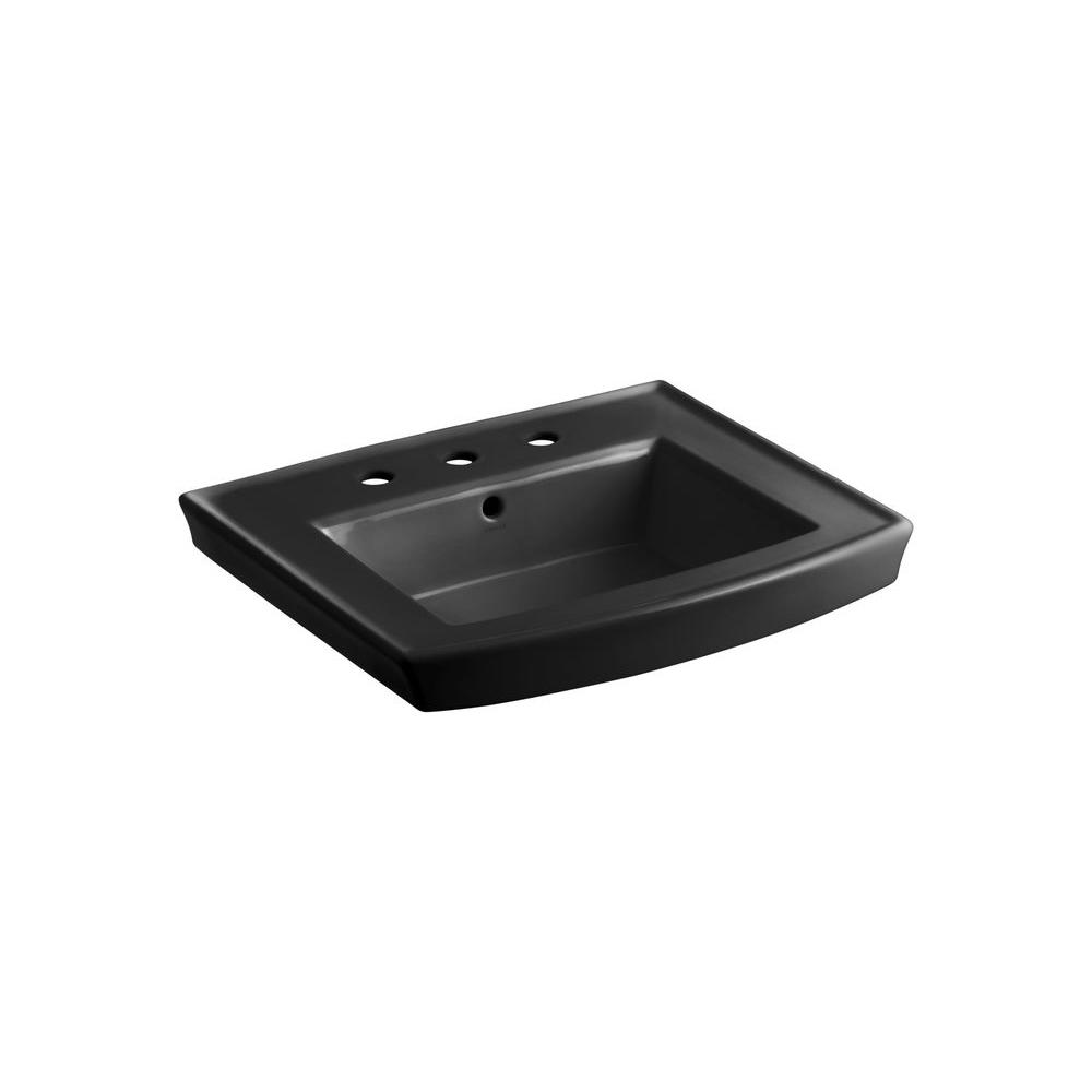 KOHLER Archer 8 in. Vitreous China Pedestal Sink Basin in Black Black with Overflow Drain