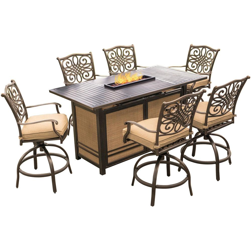 Hanover Traditions 7 Piece Aluminum Rectangular Outdoor High Dining Set With Fire Pit Natural Oat Cushions