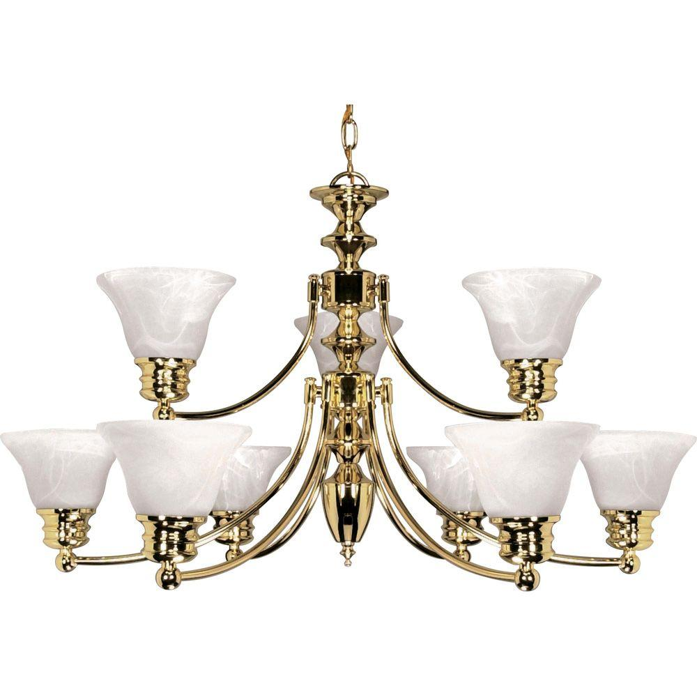 9-Light Polished Brass Chandelier with Alabaster Glass Bell Shades