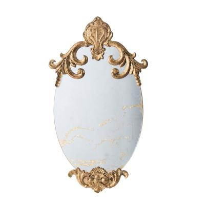 15 in. x 26.2 in. Oval Marble Clear Gold Wall Mirror
