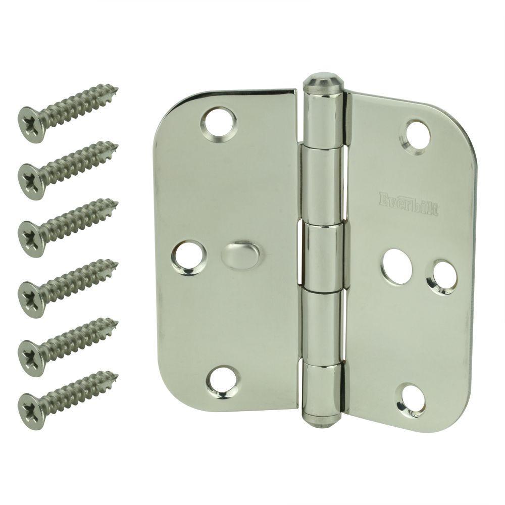 3-1/2 in. Stainless Steel 5/8 in. Radius Security Door Hinge