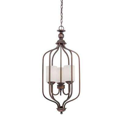 3-Light Rubbed Bronze Pendant with Etched White Glass