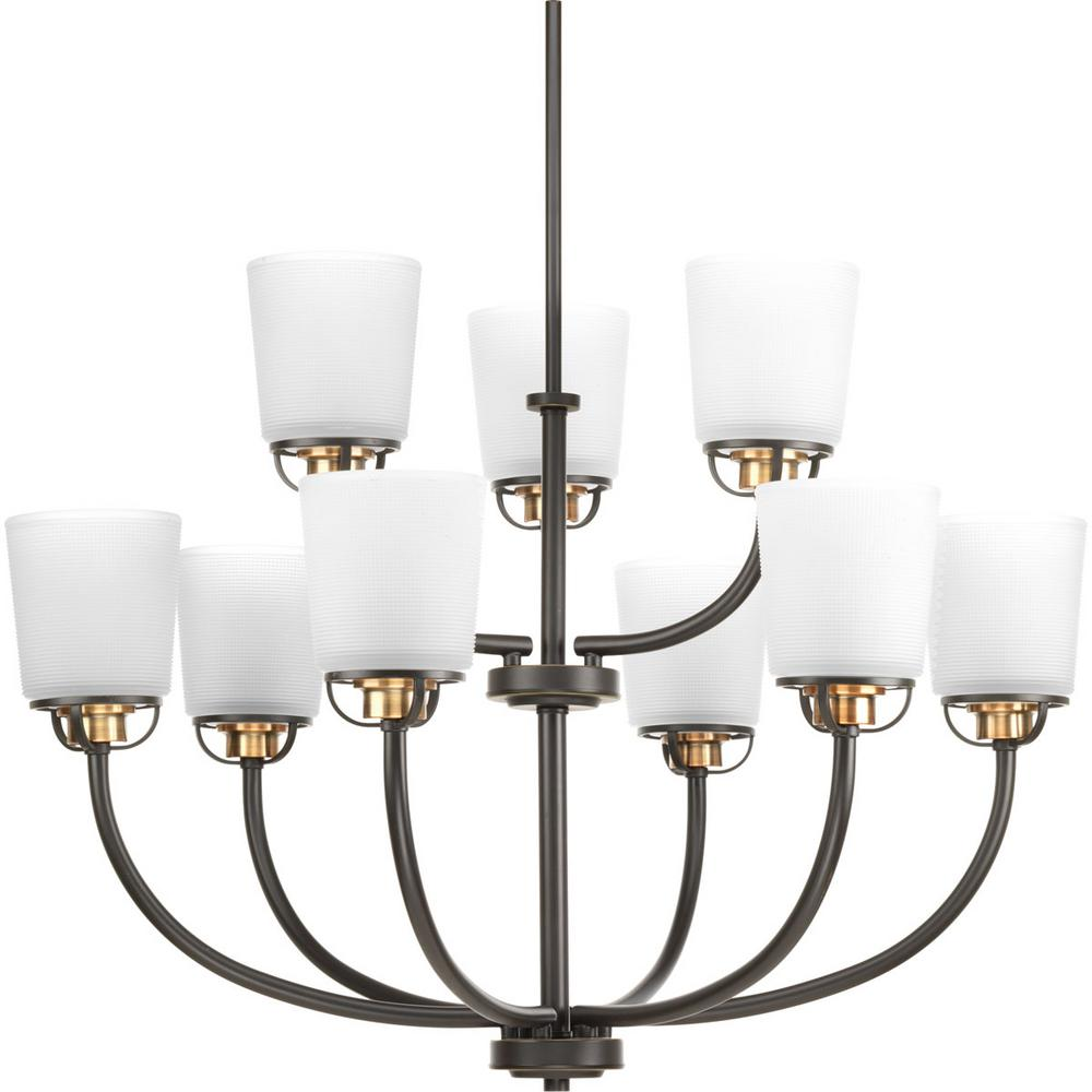 Progress Lighting West Village Collection 9-light Antique Bronze Chandelier with Etched Glass Shade