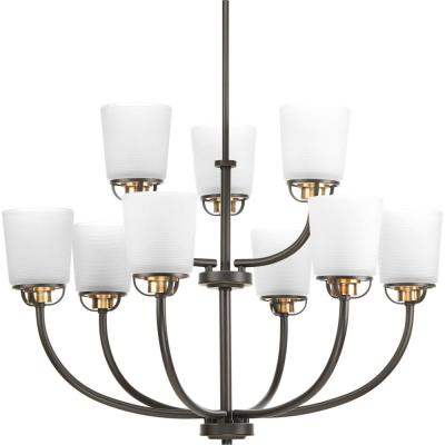West Village Collection 9-light Antique Bronze Chandelier with Etched Glass Shade