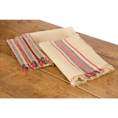 Linen Stripe 20 in. x 20 in. Natural Napkins (Set of 4)