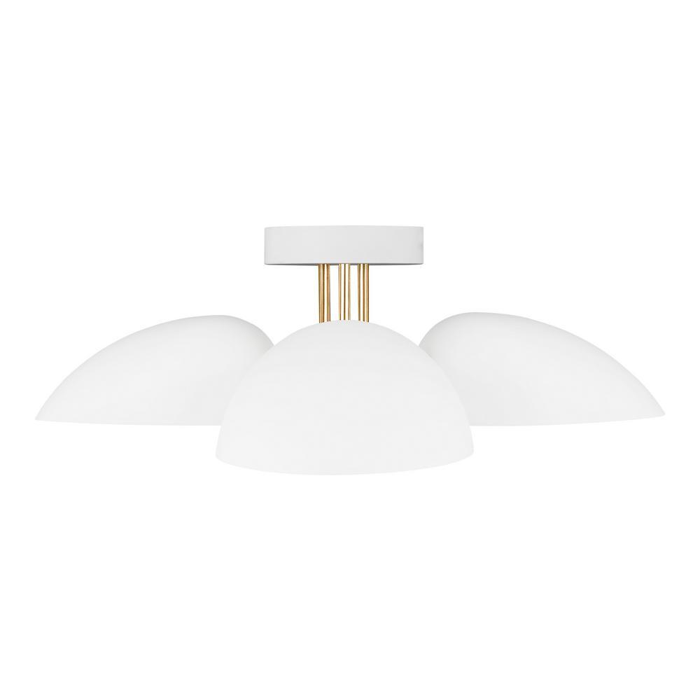 Generation Lighting Designer Collections ED Ellen DeGeneres Crafted by Generation Lighting Jane 24 in. W 3-Light Matte White Semi-Flush Mount Ceiling Light