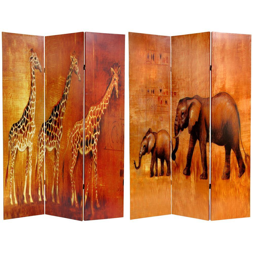 6 ft. Printed 3-Panel Giraffe and Elephant Room Divider