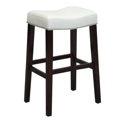 26 in. Elegant White and Espresso Brown Wooden Counter Height Stool (Set of 2)