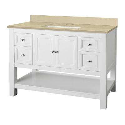 Gazette 49 in. W x 22 in. D Vanity in White with Engineered Marble Vanity Top in Crema Limestone with White Sink