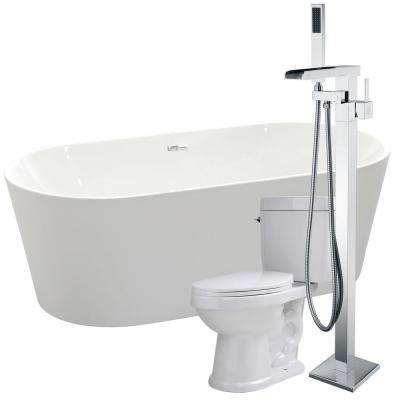 Chand 67 in. Acrylic Flatbottom Non-Whirlpool Bathtub in White with Union Faucet and Talos 1.6 GPF Toilet