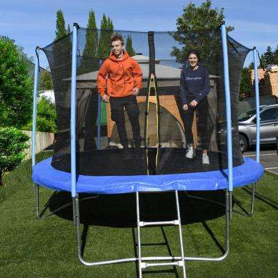 10 ft. Trampoline with Safety Net and Ladder in Black and Blue