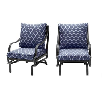 Highland Point Black Pewter Aluminum Outdoor Rocking Lounge Chair W/CushionGuard Midnight Trellis Navy Cushions (2-Pack)