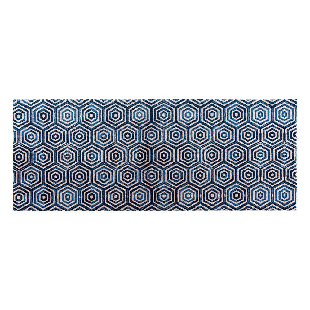 Studio 67 In-Home Washable/Non-Slip Hex Blue 2 ft. 3 in. x 6 ft. 3 in. Runner Rug