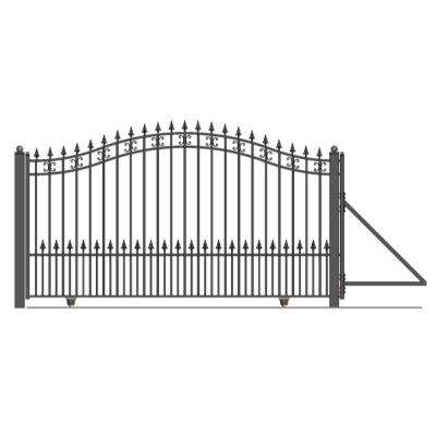 St. Petersburg Style 12 ft. W x 6 ft. H Black Steel Single Slide Driveway with Gate Opener Fence Gate