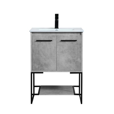 Timeless Home 24 in. W x 18.31 in. D x 33.46 in. H Single Bathroom Vanity in Concrete Grey with Porcelain