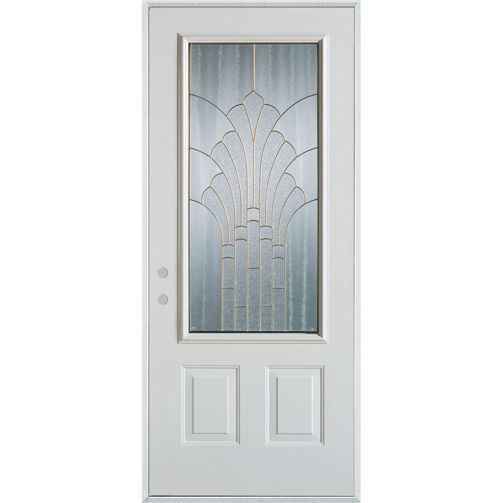 36 in. x 80 in. Art Deco 3/4 Lite 2-Panel Painted White Right-Hand Inswing Steel Prehung Front Door