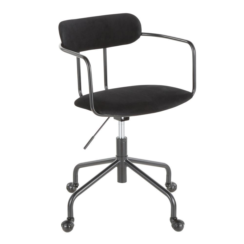 Demi Black Task Chair in Black Velvet