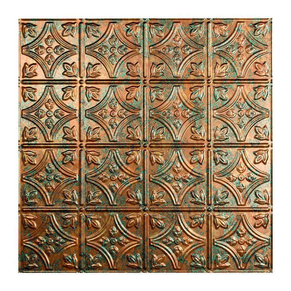 Fasade Traditional 1 - 2 ft. x 2 ft. Lay-in Ceiling Tile in Copper Fantasy