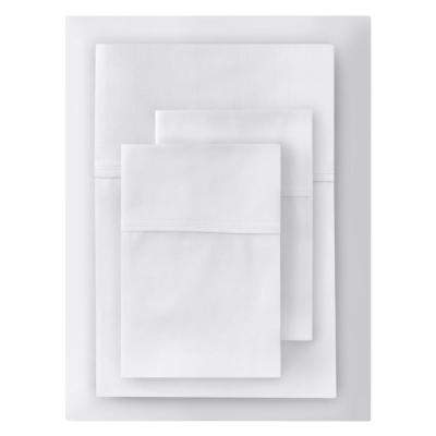 300 Thread Count Wrinkle Resistant American Cotton Sateen 4-Piece Queen Sheet Set in White