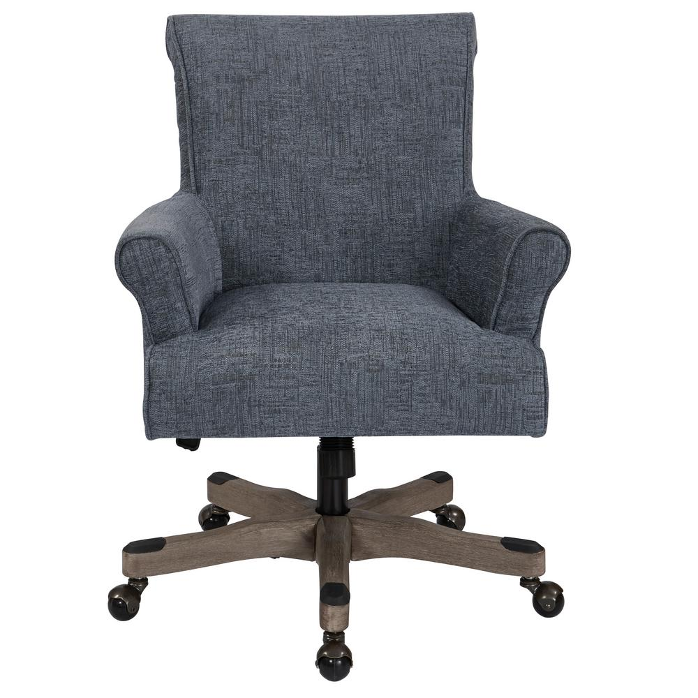 OSP Home Furnishings Megan Navy Fabric Office Chair with Grey Wash Wood, Navy Polyester Create the home office of your dreams with this classic desk chair. Envelope yourself in the luxury of polyester fabric, while the scroll back and rolled arms offer stylish, comfortable support while working. A lacquered wood base allows adjustable height and effortless movement from task to task. Dress up your home office with the OSP Accents Megan office chair. Color: Navy Polyester.
