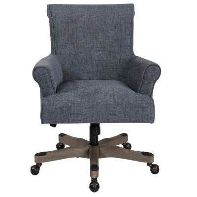 Megan Navy Fabric Office Chair with Grey Wash Wood