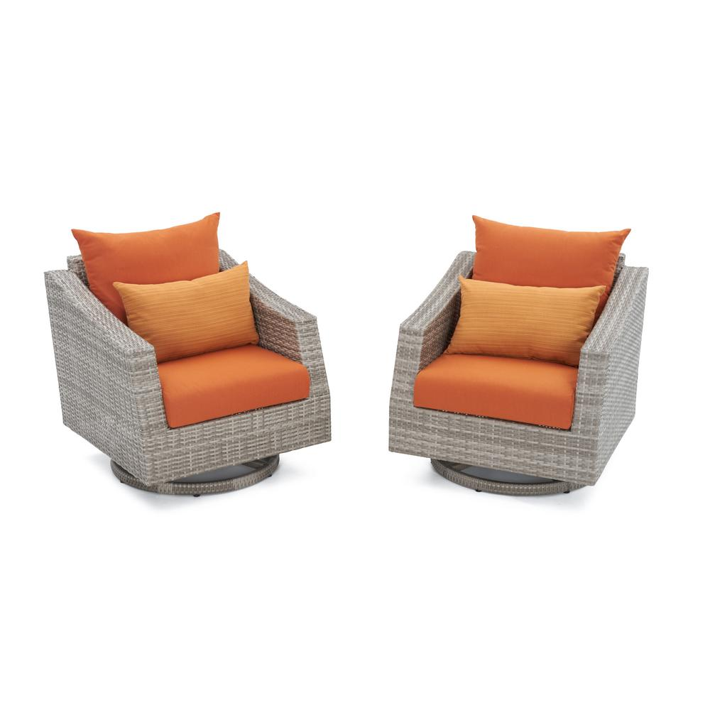 Cannes All-Weather Wicker Motion Patio Lounge Chair with Tikka Orange Cushions