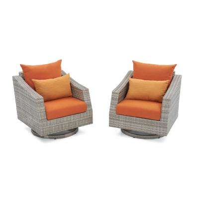 Cannes All-Weather Wicker Motion Patio Lounge Chair with Tikka Orange Cushions (2-Pack)