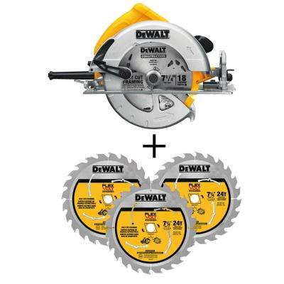 15 Amp 7-1/4 in. Lightweight Circular Saw with Bonus  24-Teeth Circular Saw Blade (3-Pack)