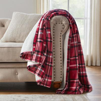 Oversized Plush Red Plaid Sherpa Throw Blanket