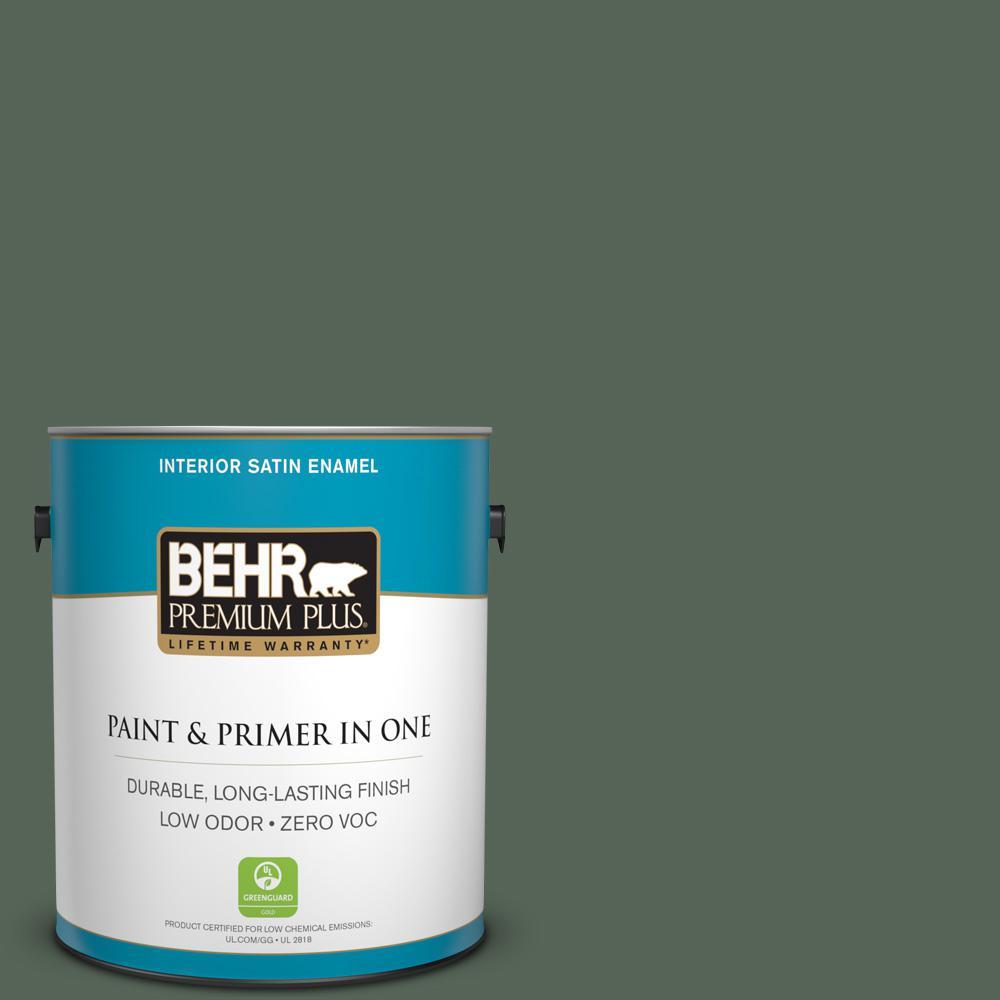 BEHR Premium Plus 1-gal. #T13-16 Pine Cone Pass Zero VOC Satin Enamel Interior Paint