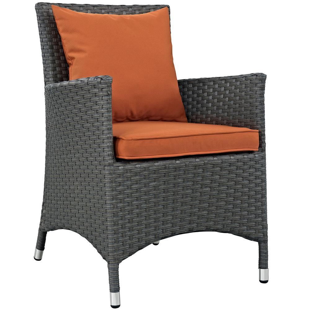 Sojourn Patio Wicker Outdoor Dining Chair with Sunbrella Canvas Tuscan Cushions