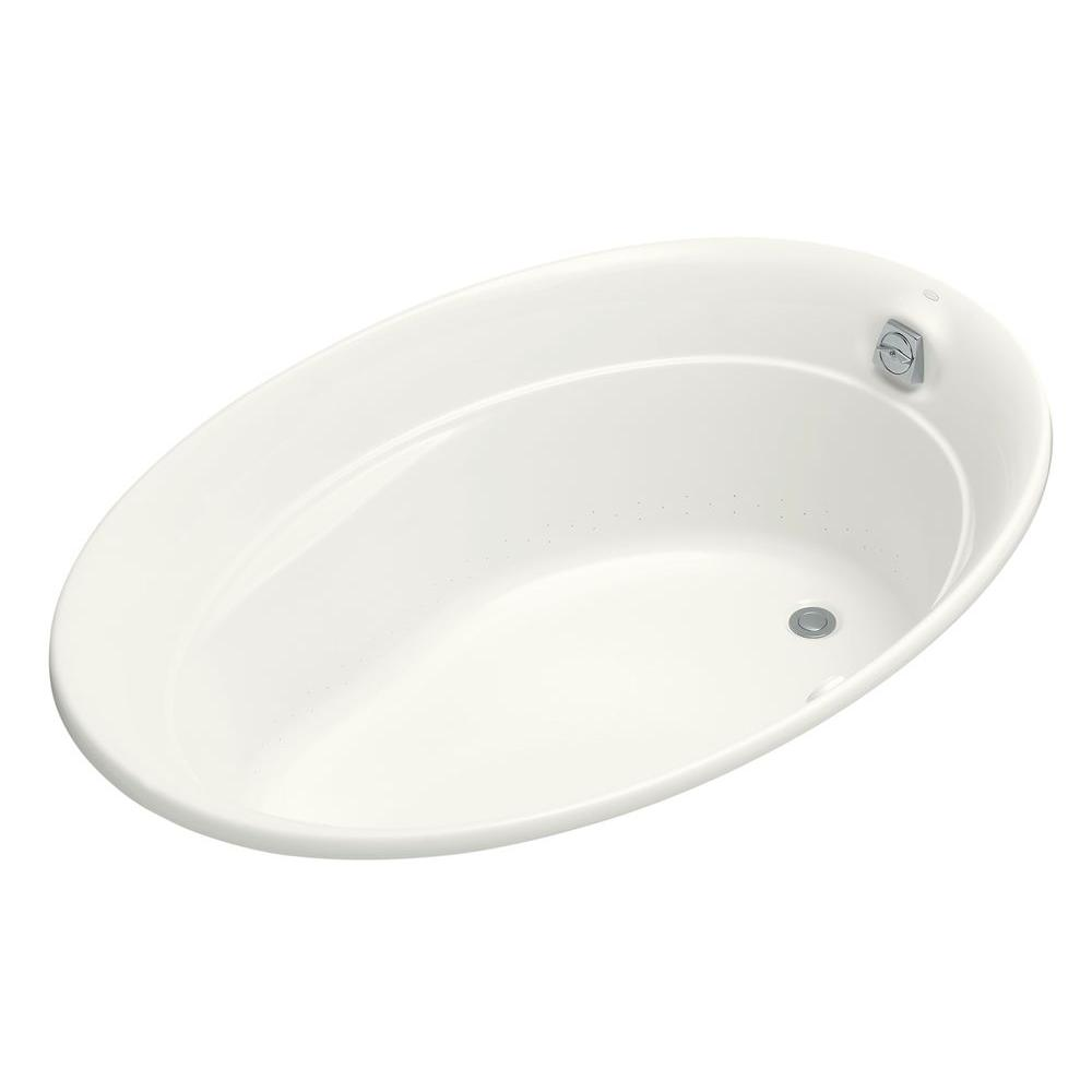 Kohler Serif Bubblemage 5 Ft Acrylic Oval Drop In Whirlpool Bathtub White