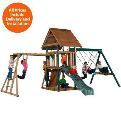 Installed Skyrise Deluxe Wood Playset