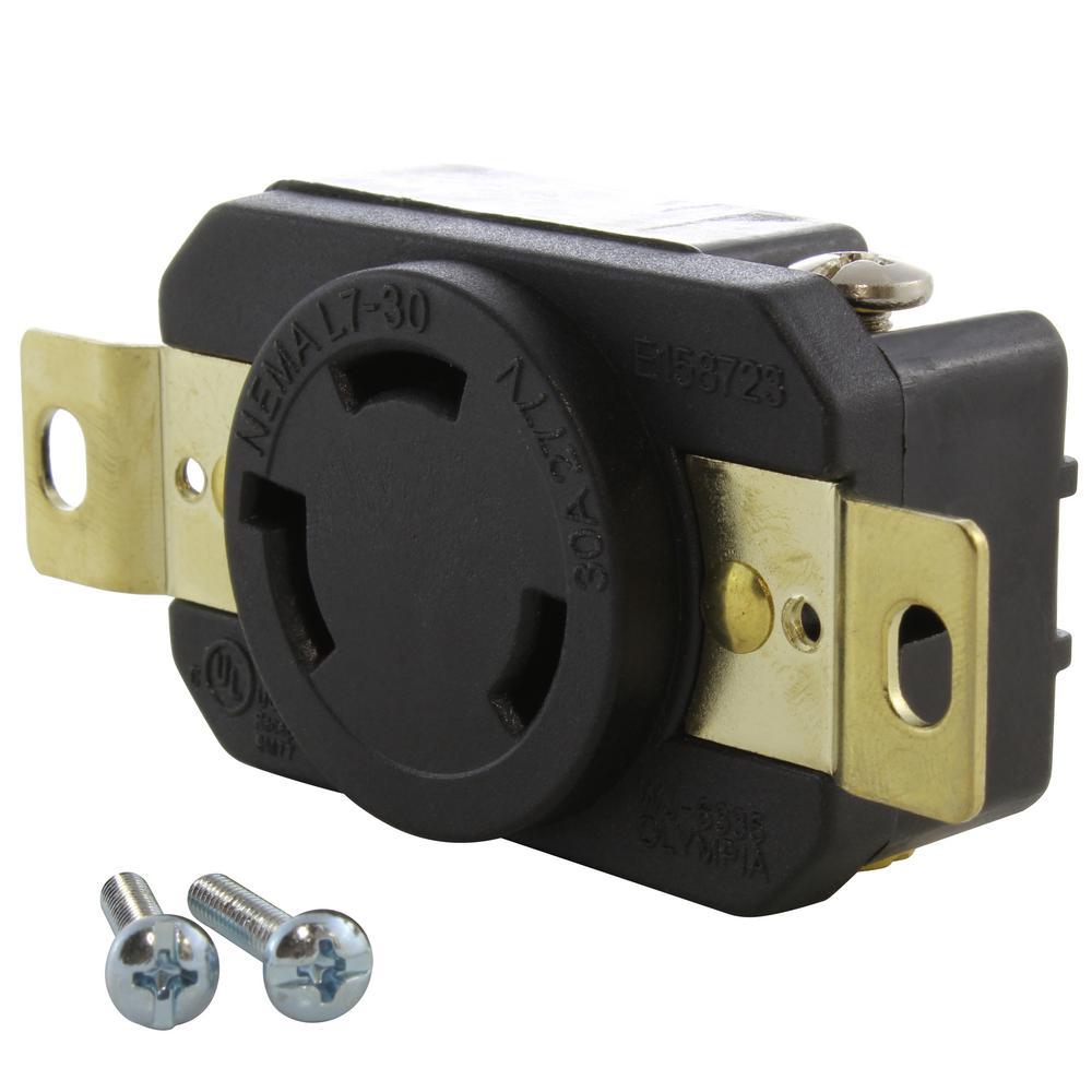 30A, 277V, Single NEMA L7-30R Flush Mounting Locking Industrial Grade Receptacle