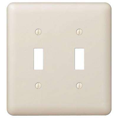 Declan 2 Toggle Wall Plate - Light Almond Steel