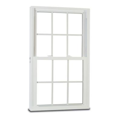 35.375 in. x 59.25 in. 50 Series Single Hung White Vinyl Window with Nailing Flange and Grilles