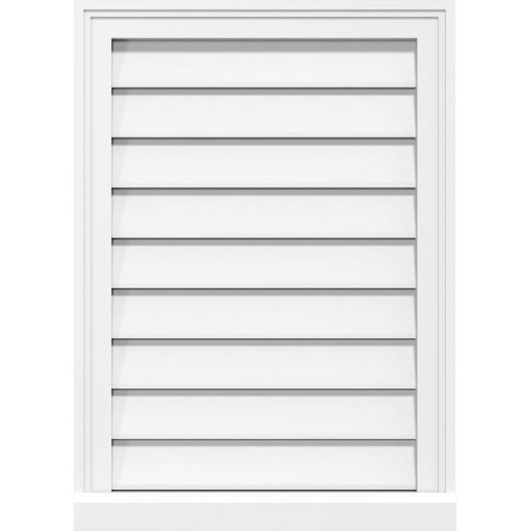 Ekena Millwork 38 X 20 Vertical Surface Mount Pvc Gable Vent Functional With Brickmould Sill Frame Gvpve38x2003sf The Home Depot
