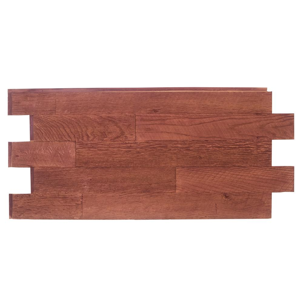 Superior Building Supplies Faux Barnwood Panel 1-1/4 in. x 52.25 in. x 23 in. Mahogany Polyurethane Interlocking Panel, Brown Superior's 52 in. x 24 in. Faux Barnwood Panel (Mahogany) is a perfect fit. Install with screws and adhesive, they're lightweight because they're made of high-density polyurethane which makes them virtually maintenance free. No insect pests or rotting to worry about. Provides years of lasting beauty because they're UV protected.