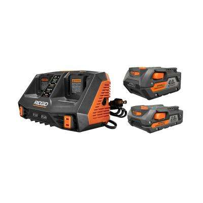 18-Volt Lithium-Ion Dual Port Sequential Charger Kit with (1) 4.0 Ah Battery and (1) 2.0 Ah Battery