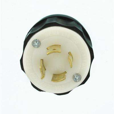 20 Amp 125/250-Volt Locking Grounding Plug, Black/White