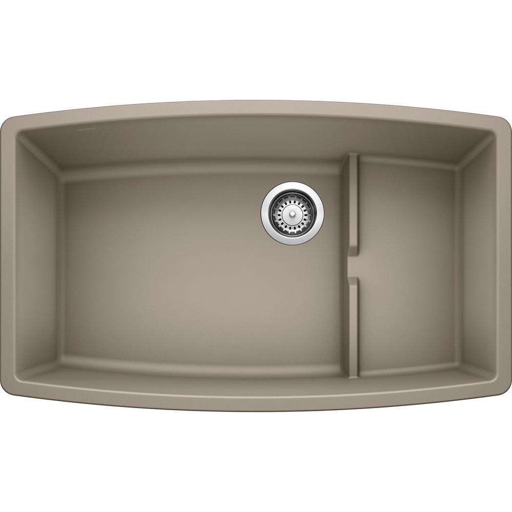 PERFORMA CASCADE Undermount Granite Composite 32 in. Single Bowl Kitchen Sink with Mesh Colander in Truffle
