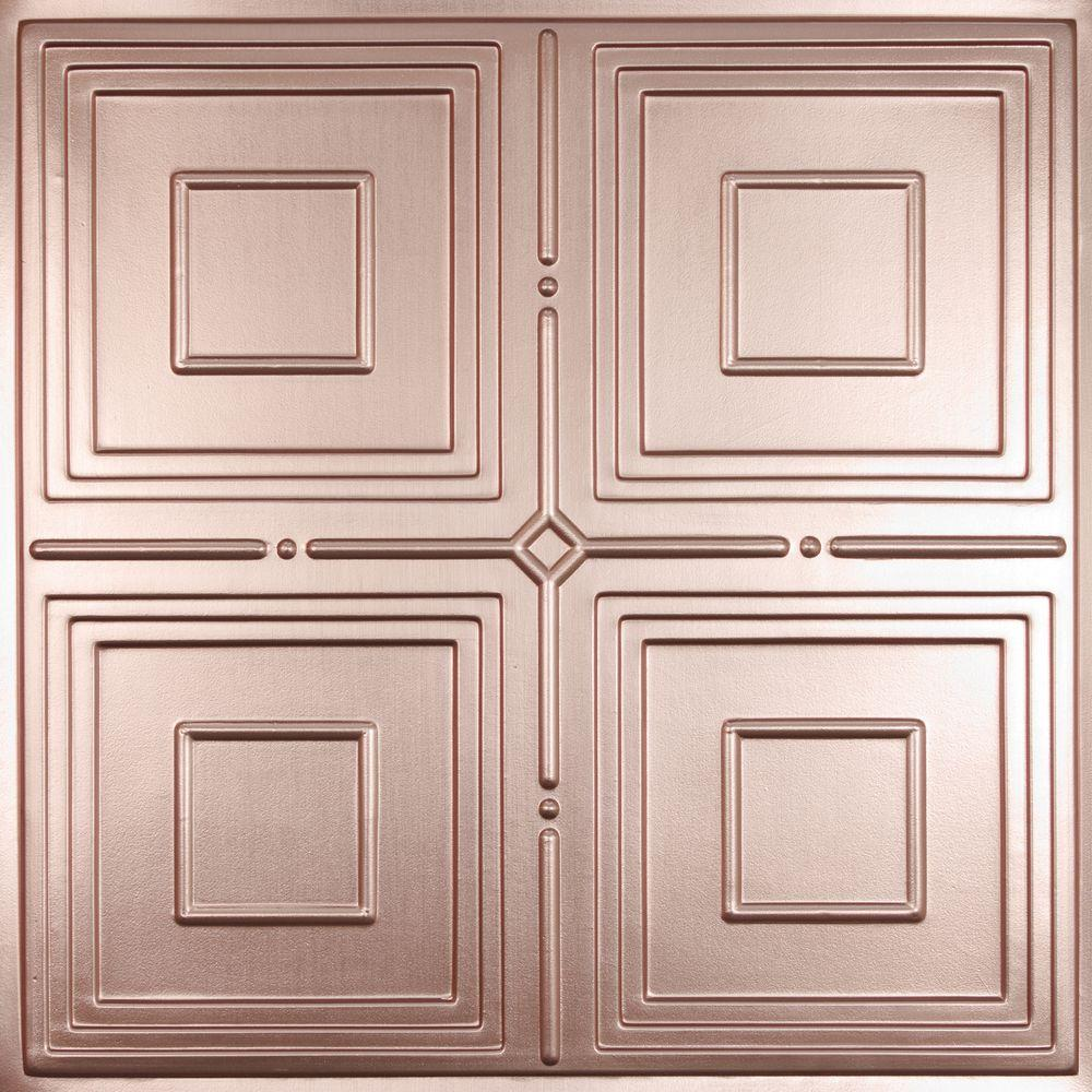Ceilume Jackson Faux Copper 2 Ft X 2 Ft Lay In Or Glue Up Ceiling