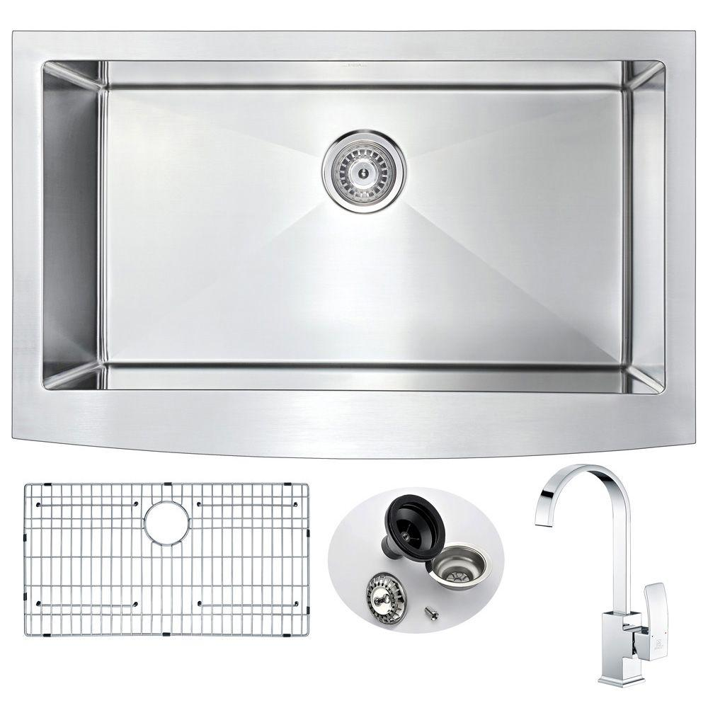 ANZZI ELYSIAN Farmhouse Stainless Steel 36 in. 0-Hole Kitchen Sink ...