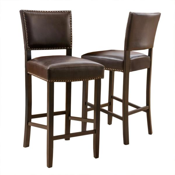 Mayfield 44.5 in. Brown Cushioned Bar Stool (Set of 2)