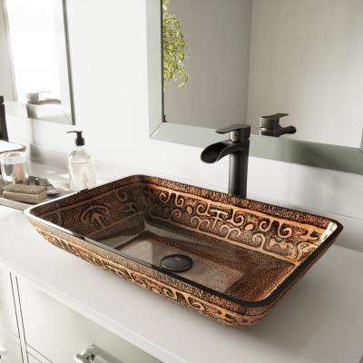 Glass Vessel Bathroom Sink in Golden Greek and Niko Faucet Set in Antique Rubbed Bronze