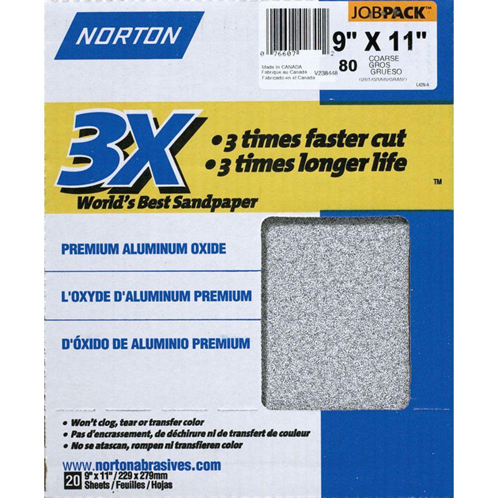 Norton 9 in. x 11 in. 80-Grit Premium Aluminum Oxide Sanding Sheets