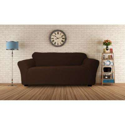 Hanover Water Resistant Chocolate Fit Polyester Fit Sofa Slip Cover