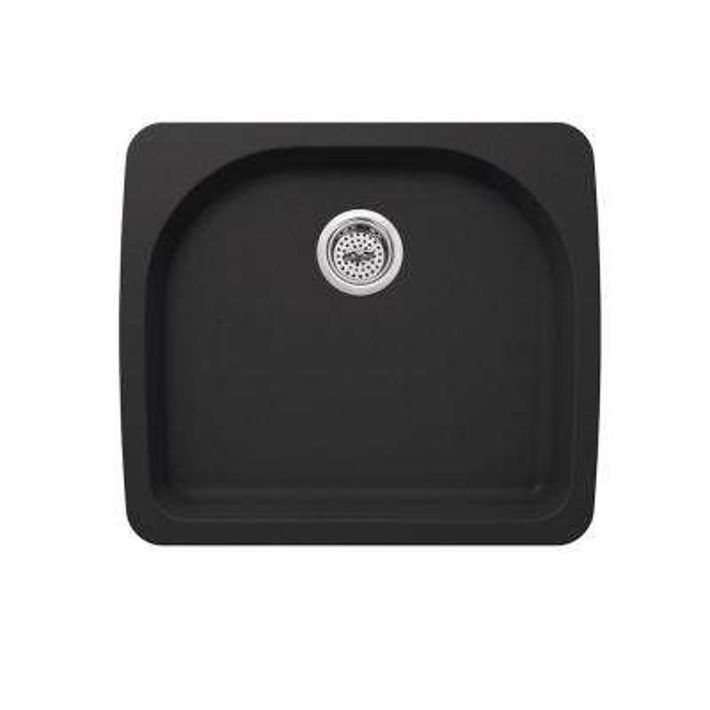 Dual Mount Quartz 25 in. 0-Hole Single Bowl Kitchen Sink in Onyx Black